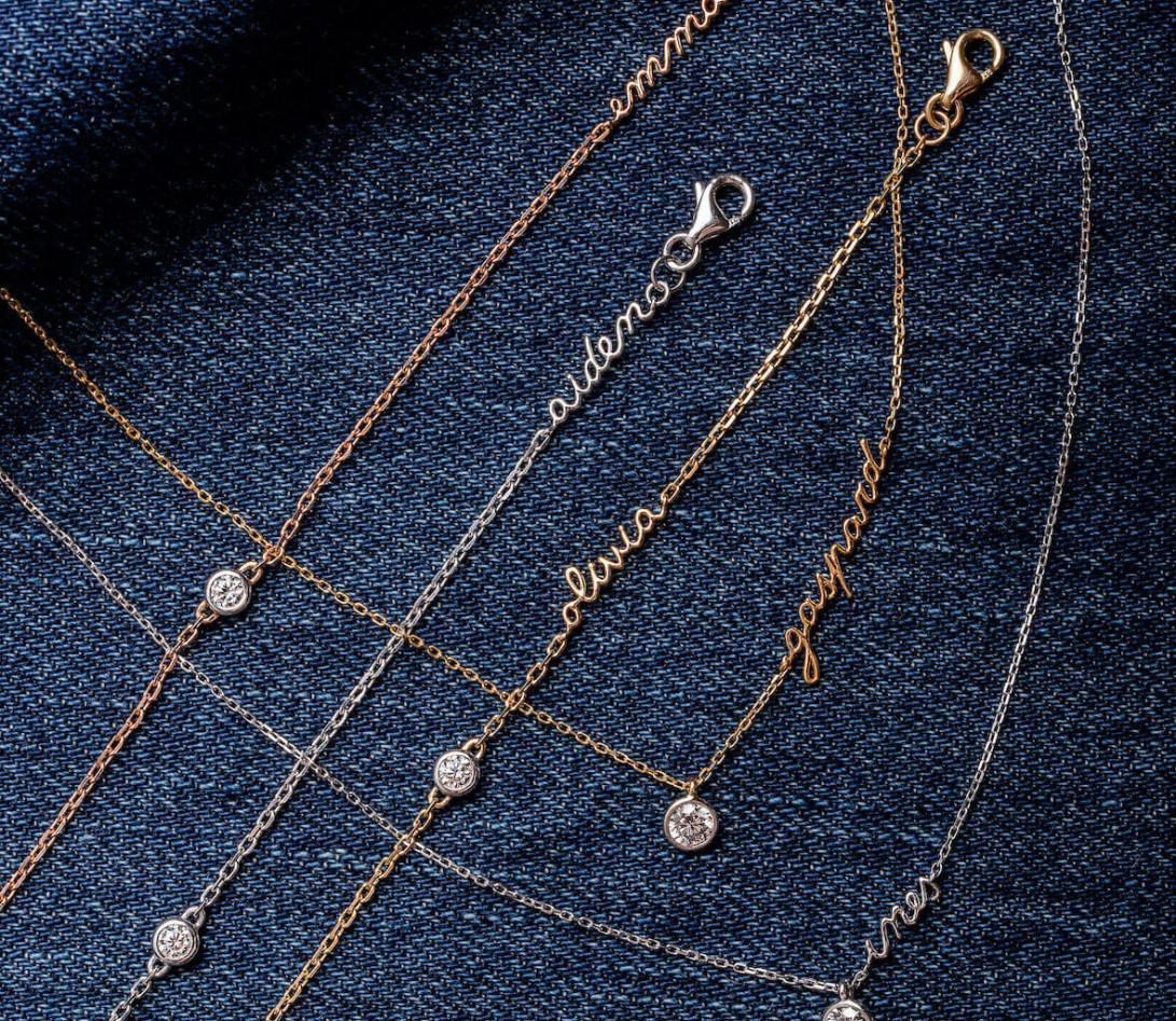 Bracelet chaîne ORIGINE 1 motif serti personnalisé en or rose 18K - Courbet - Vue 7
