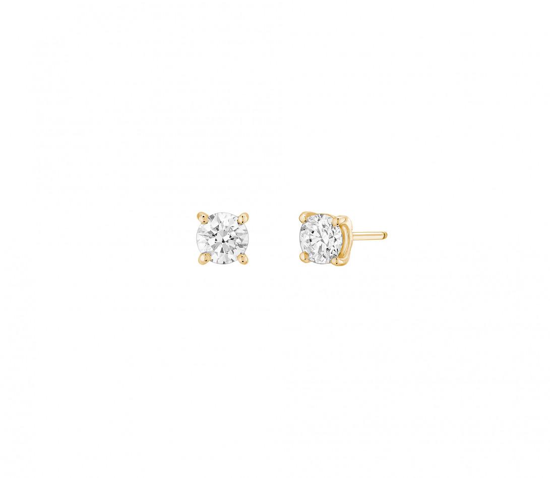 Puces d'oreilles quatre griffes - Or jaune 18K (2,00 g), diamant 1 ct
