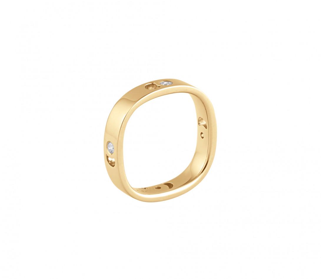 Bague Eclipse petit modèle - Or jaune 18K (4,20 g), 4 diamants 0,12 ct - Vue 3