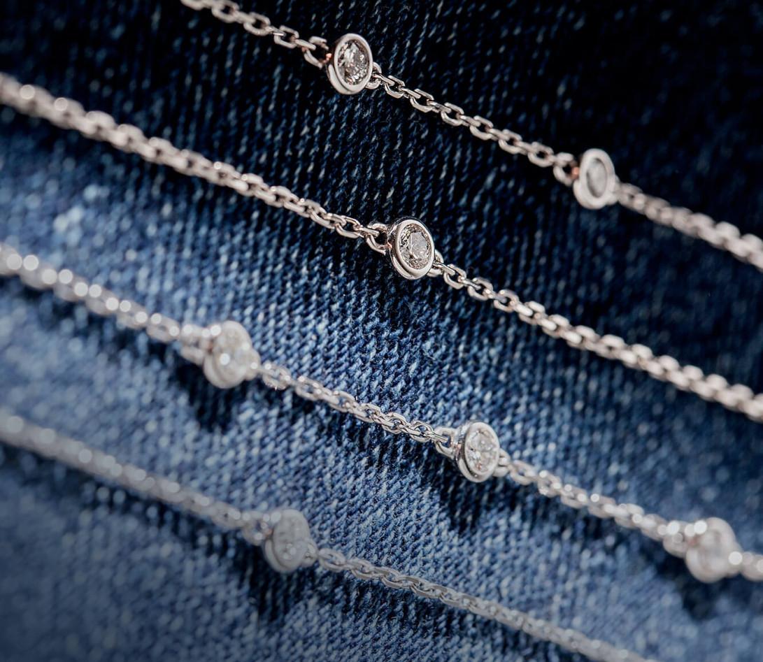 Bracelet chaîne ORIGINE 1 motif serti en or blanc - Courbet - Vue 2