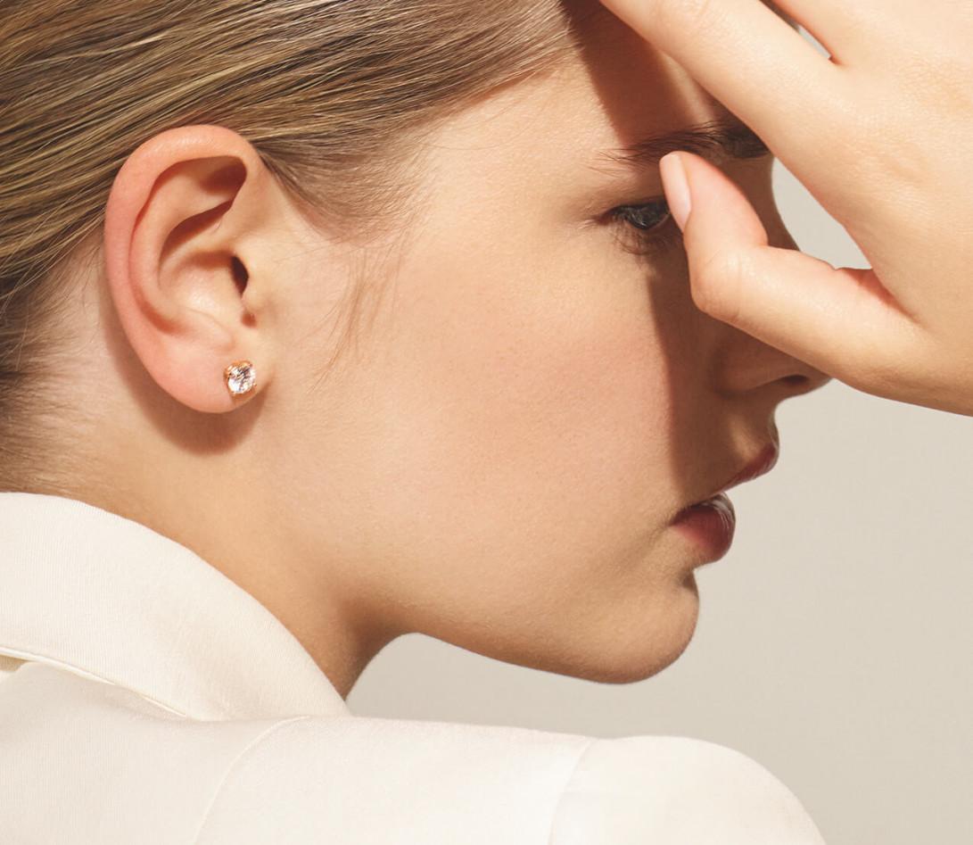Puces d'oreilles quatre griffes - Or rose 18K (2,00 g), diamant 0,6 ct - Vue 2