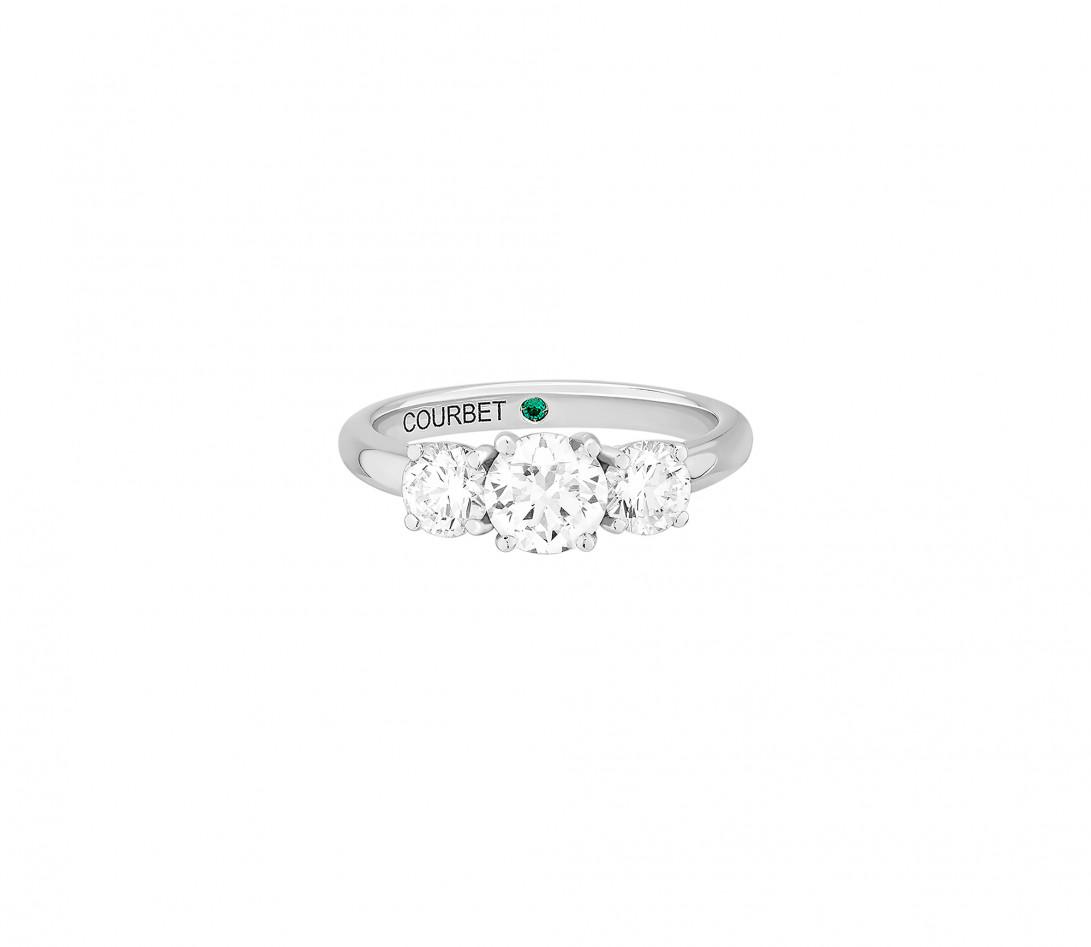 Bague solitaire Trio - Or blanc 18K (4,30 g), 3 diamants 1,45 cts - Face