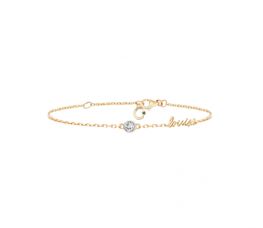 Bracelet chaîne ORIGINE 1 motif serti personnalisé en or jaune 18K - Courbet - Vue 1