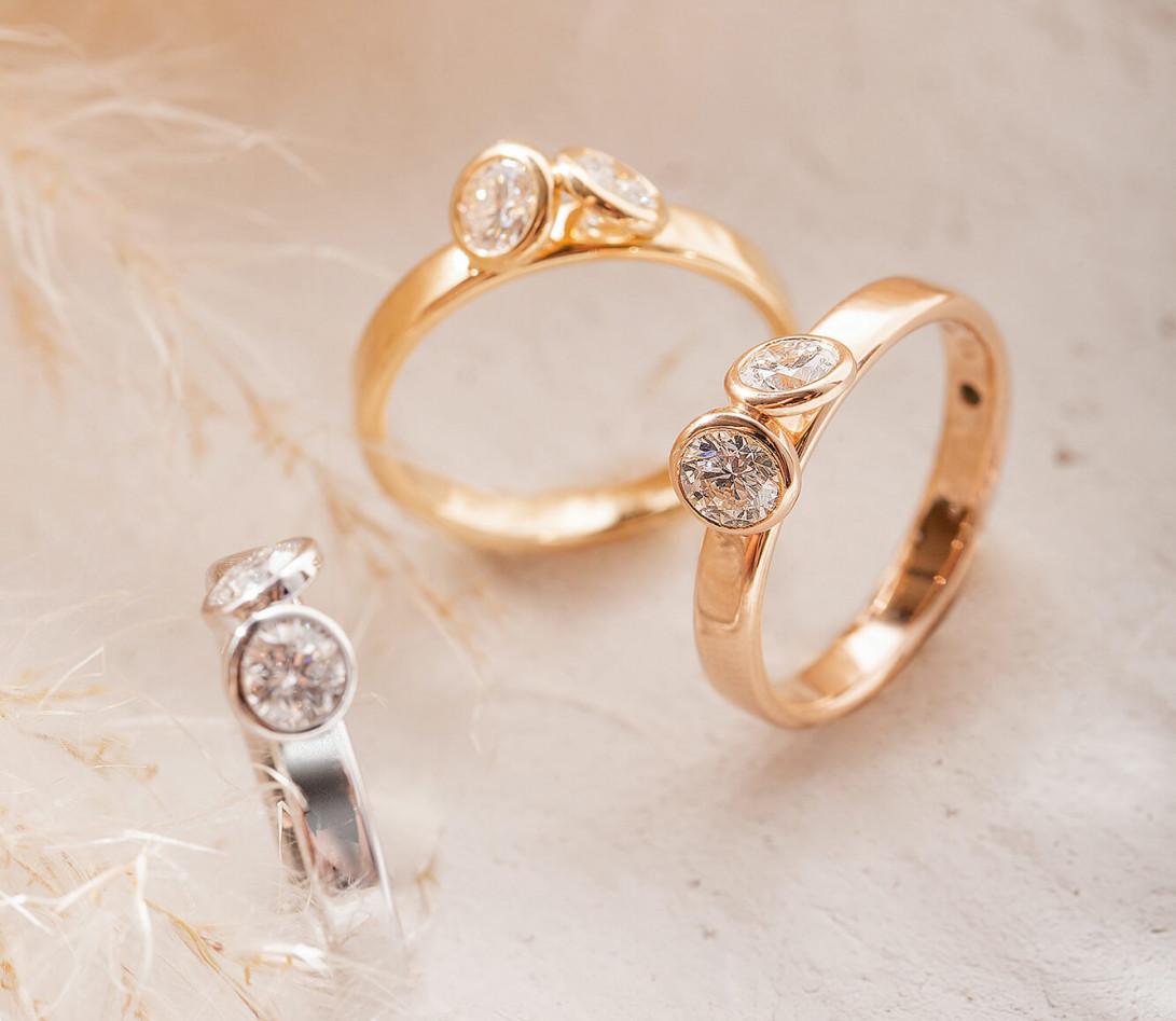 Bague 2 Courbet - Or jaune 18K (3.50), 2 diamants 1ct - Vue 4
