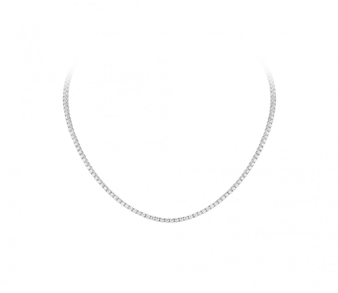 Collier Or Blanc et Diamants de synthèse 7 cts - Rivière - Courbet