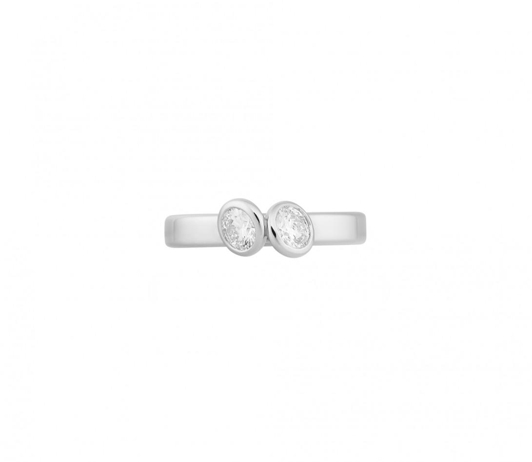 Bague 2 Courbet - Or blanc 18K (3,50g), 2 diamants 1ct - Vue 3