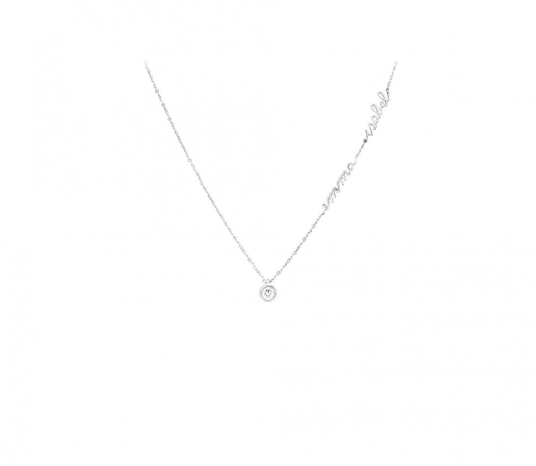 Collier ORIGINE personnalisé 2 prénoms en or blanc 18K et diamants de synthèse - Courbet - Porté
