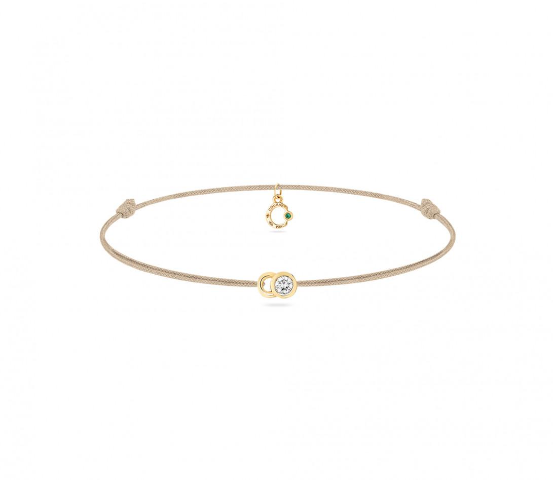Bracelet cordon LET'S COMMIT beige sable en or jaune - Face