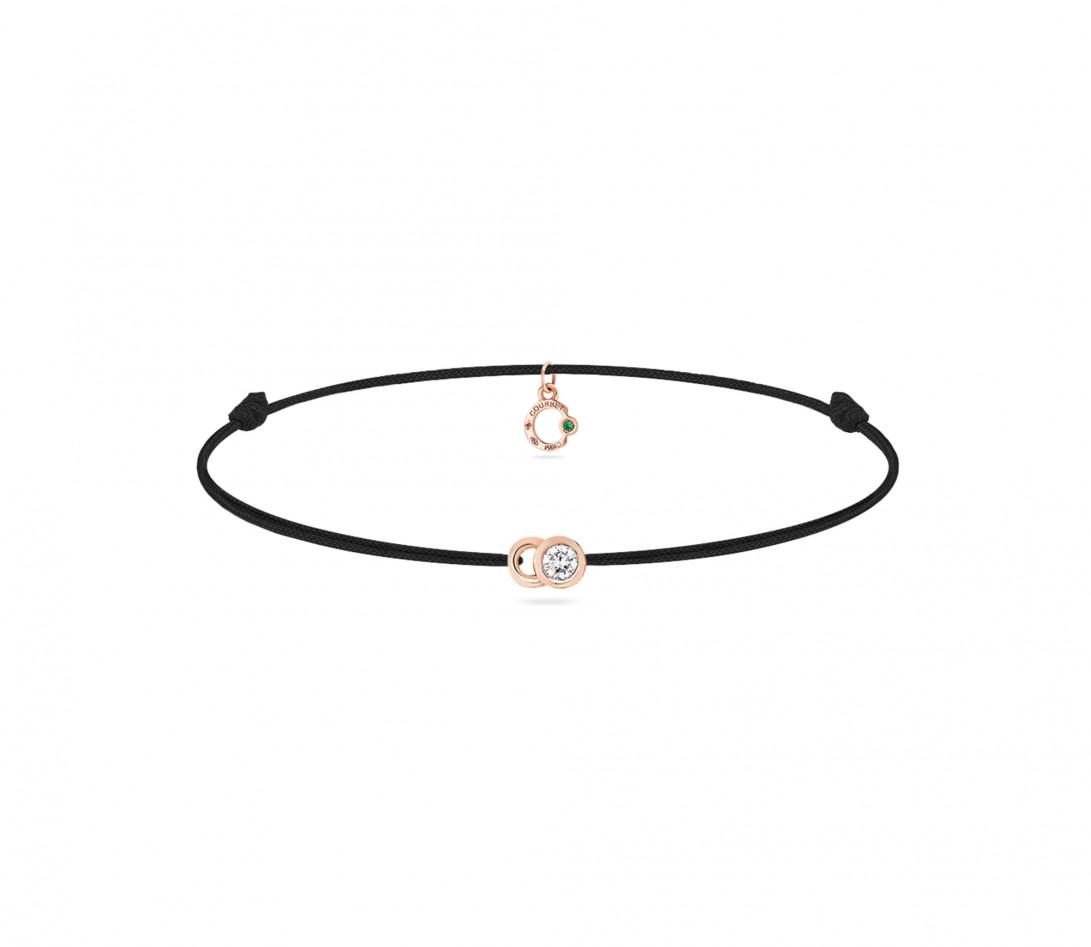 Bracelet cordon LET'S COMMIT noir carbone en or rose - Face