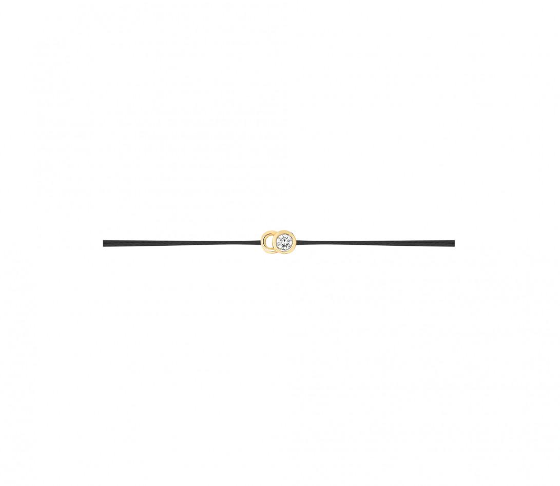 Bracelet cordon LET'S COMMIT noir carbone en or jaune - Profil