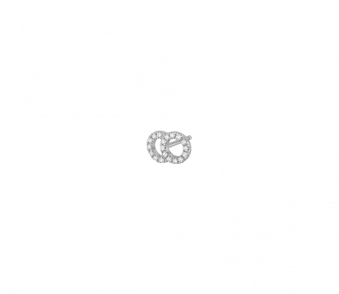 Mono boucle d'oreille puce CELESTE PM pavée en or blanc - Vue 2