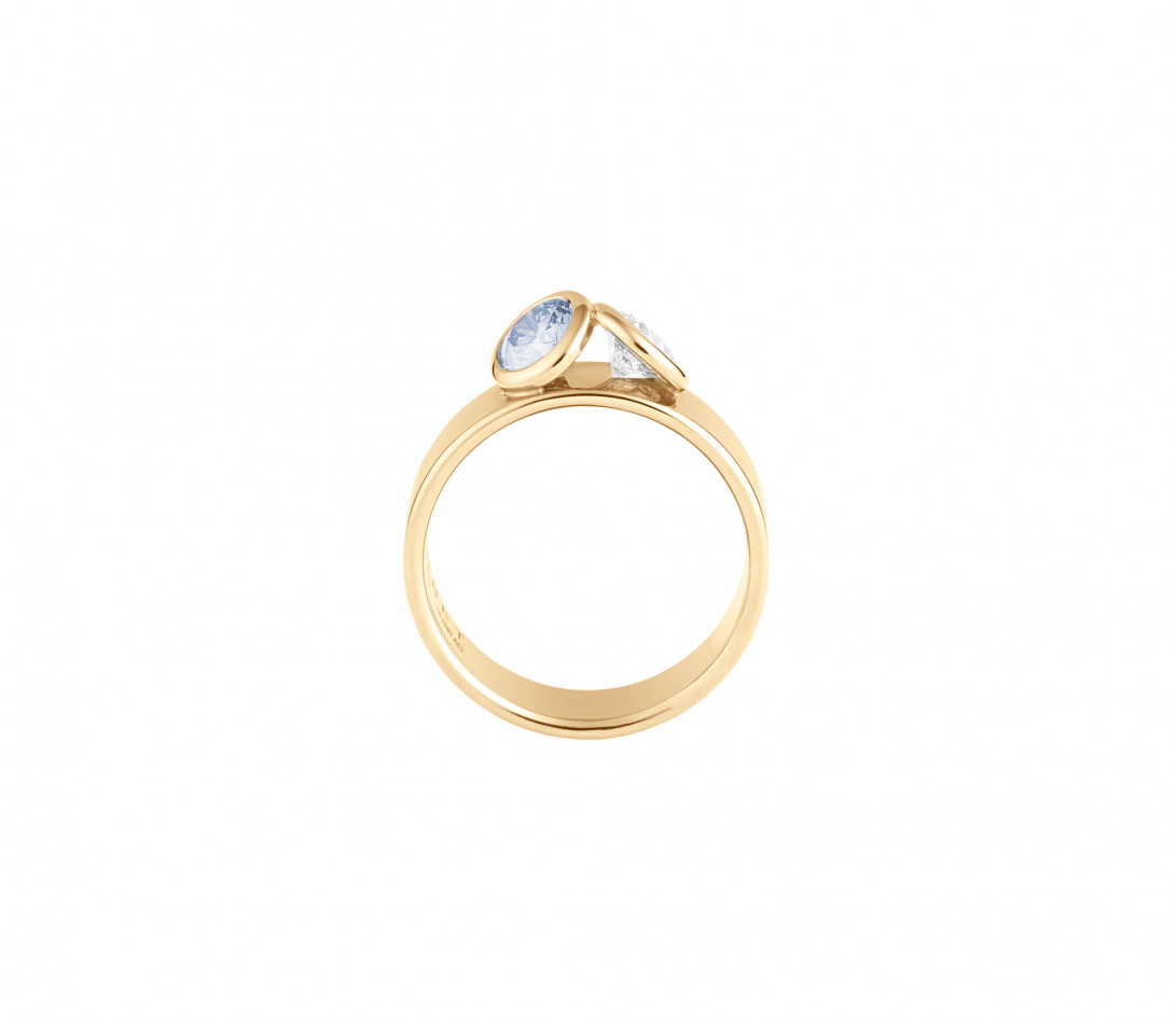Bague 2 Courbet - Or jaune 18K (7,00g), 2 diamants (1 bleu) 1ct - Profil