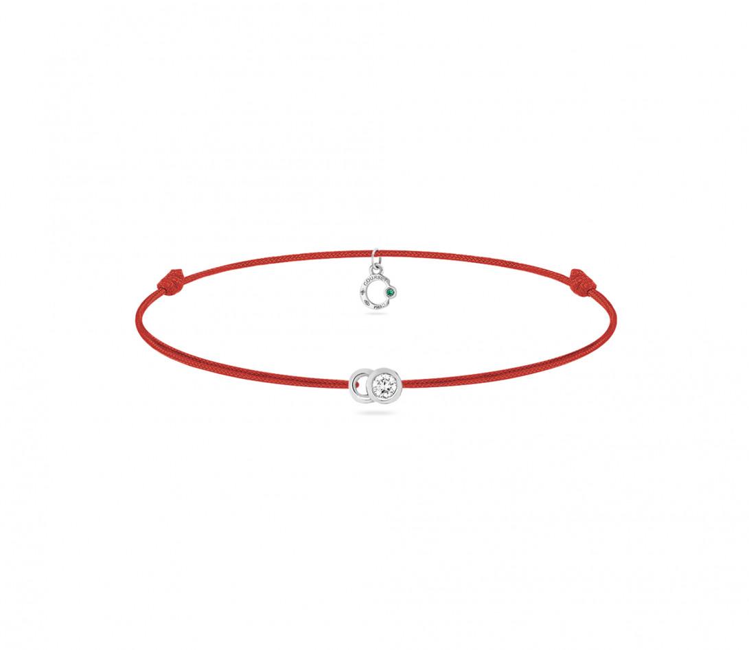 Bracelet cordon LET'S COMMIT rouge carmin en or blanc - Face