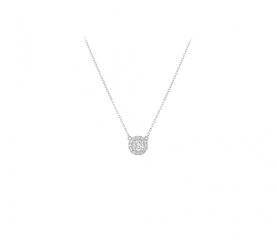 Collier Halo - Or blanc 18K (4,00 g), diamants 0,3 cts - Face