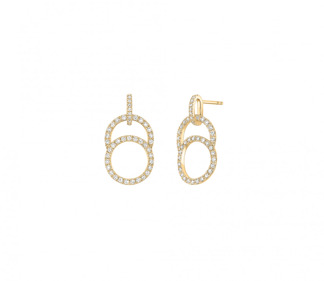 Boucles d'oreilles Céleste - Or jaune 18K (4,20 g), diamants 0,75 cts