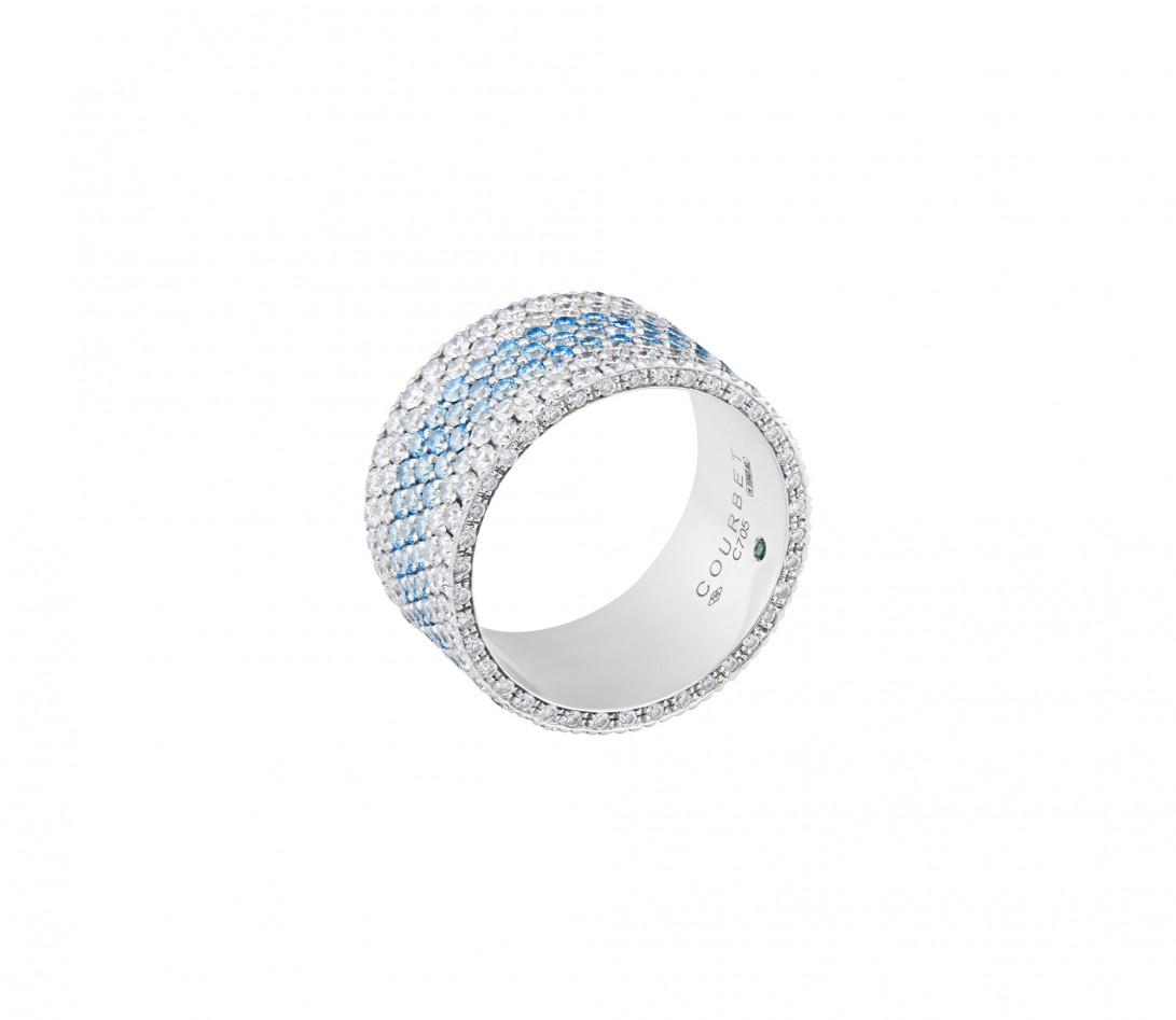 Bague Or Blanc et Diamants de synthèse 4,25 cts - Horizon - Courbet - Vue 1