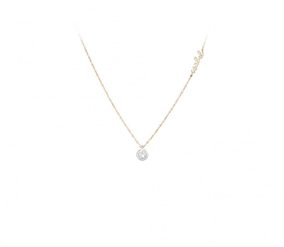 Collier ORIGINE personnalisé en or jaune 18K et diamants de synthèse - Courbet - Porté