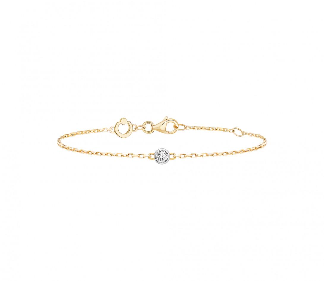 Bracelet chaîne ORIGINE 1 motif serti en or jaune - Courbet - Face