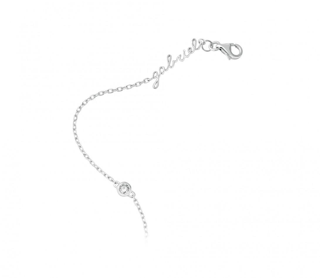 Bracelet chaîne ORIGINE 1 motif serti personnalisé en or blanc 18K - Courbet - Vue 3