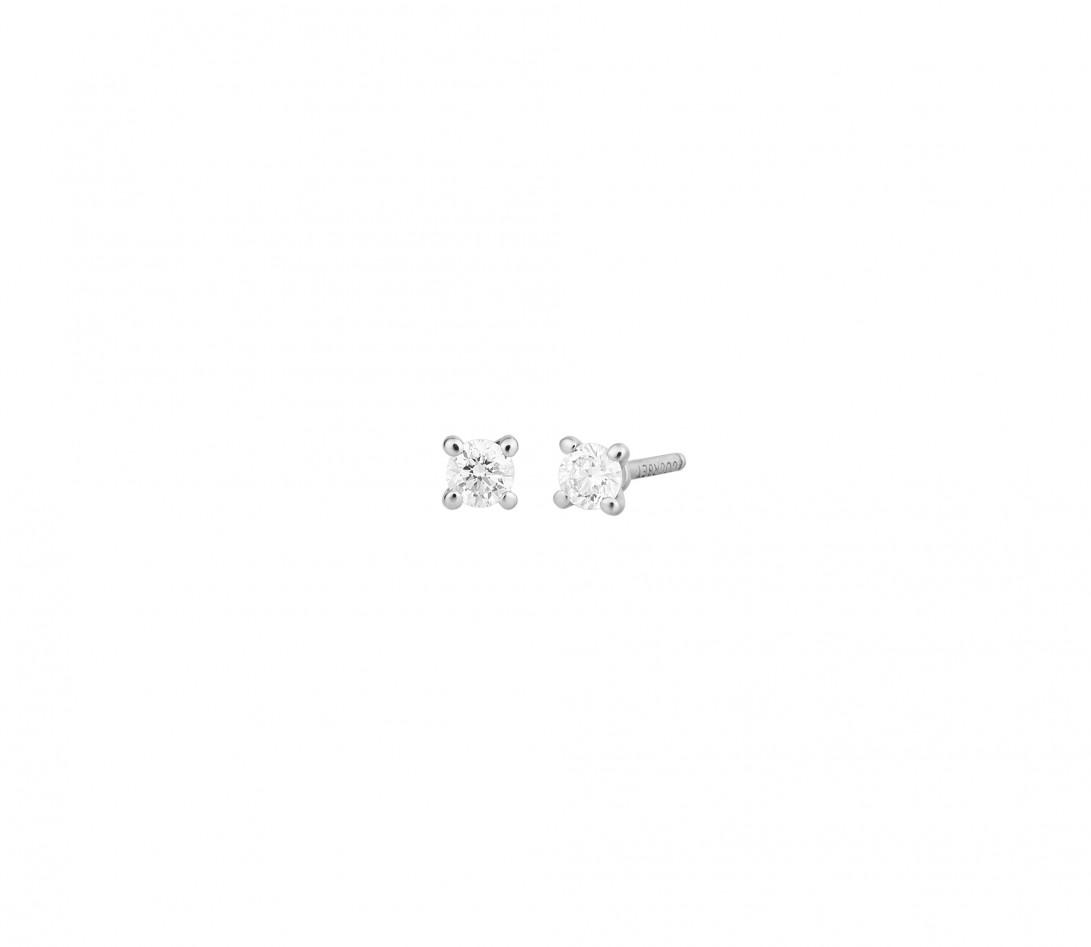 Boucles d'oreilles puces 4 griffes PM en or blanc 18K recyclé et diamants de synthèse - Courbet