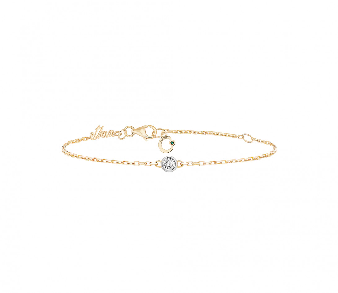 Bracelet chaîne ORIGINE 1 motif serti personnalisé en or jaune 18K - Courbet - Vue 4