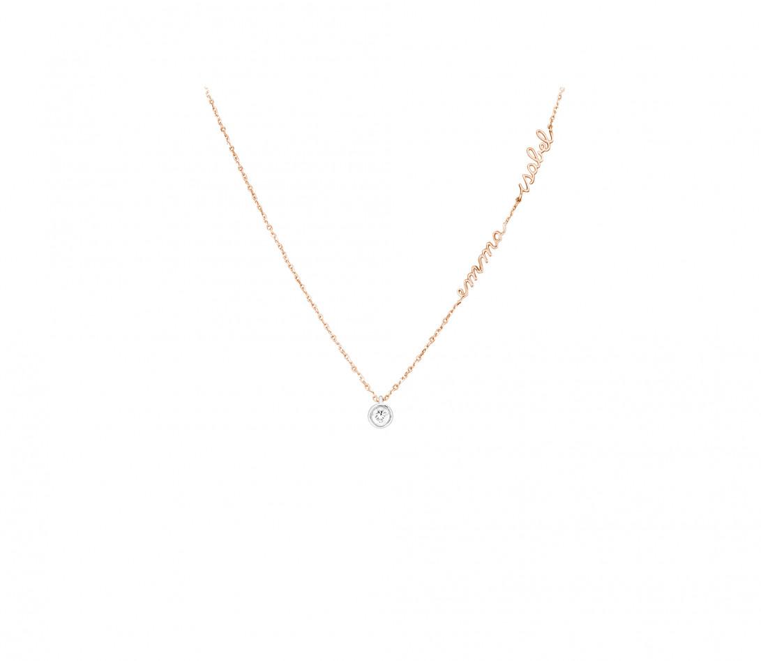 Collier ORIGINE personnalisé 2 prénoms en or rose 18K et diamants de synthèse - Courbet - Porté