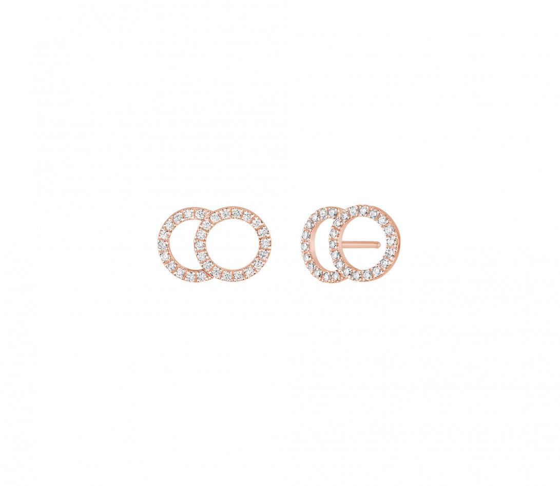 Boucles d'oreilles puces CELESTE GM pavées en or rose - Vue 1