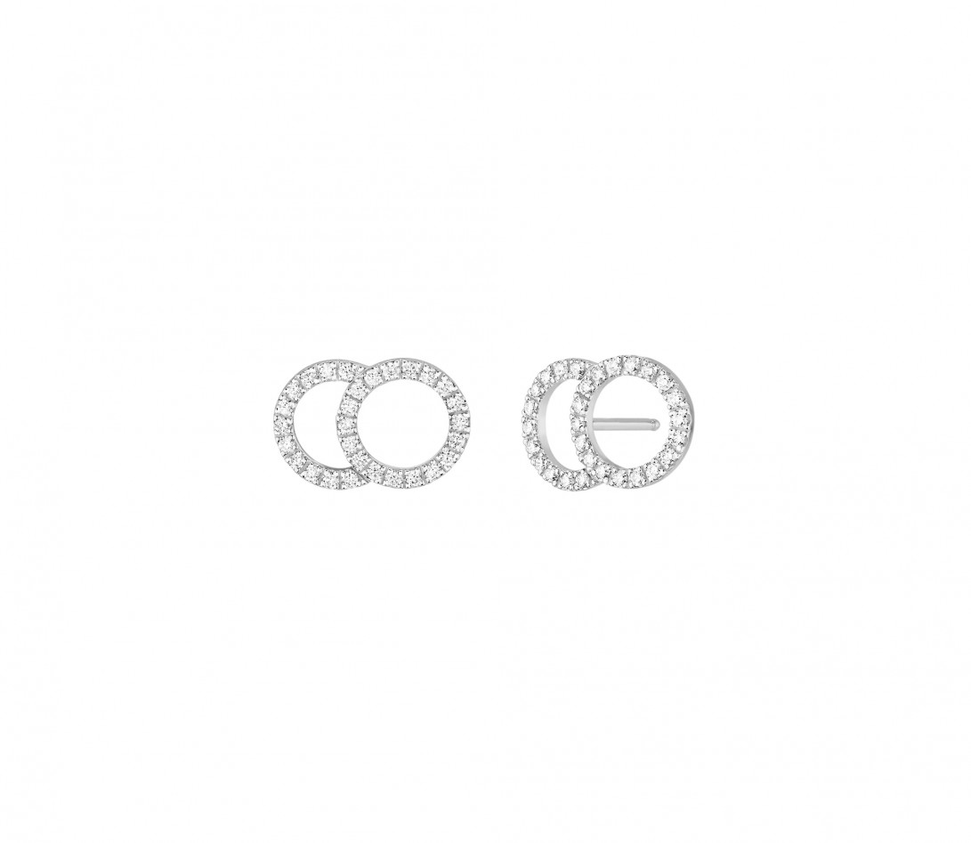 Boucles d'oreilles puces CELESTE GM pavées en or blanc - Vue 1