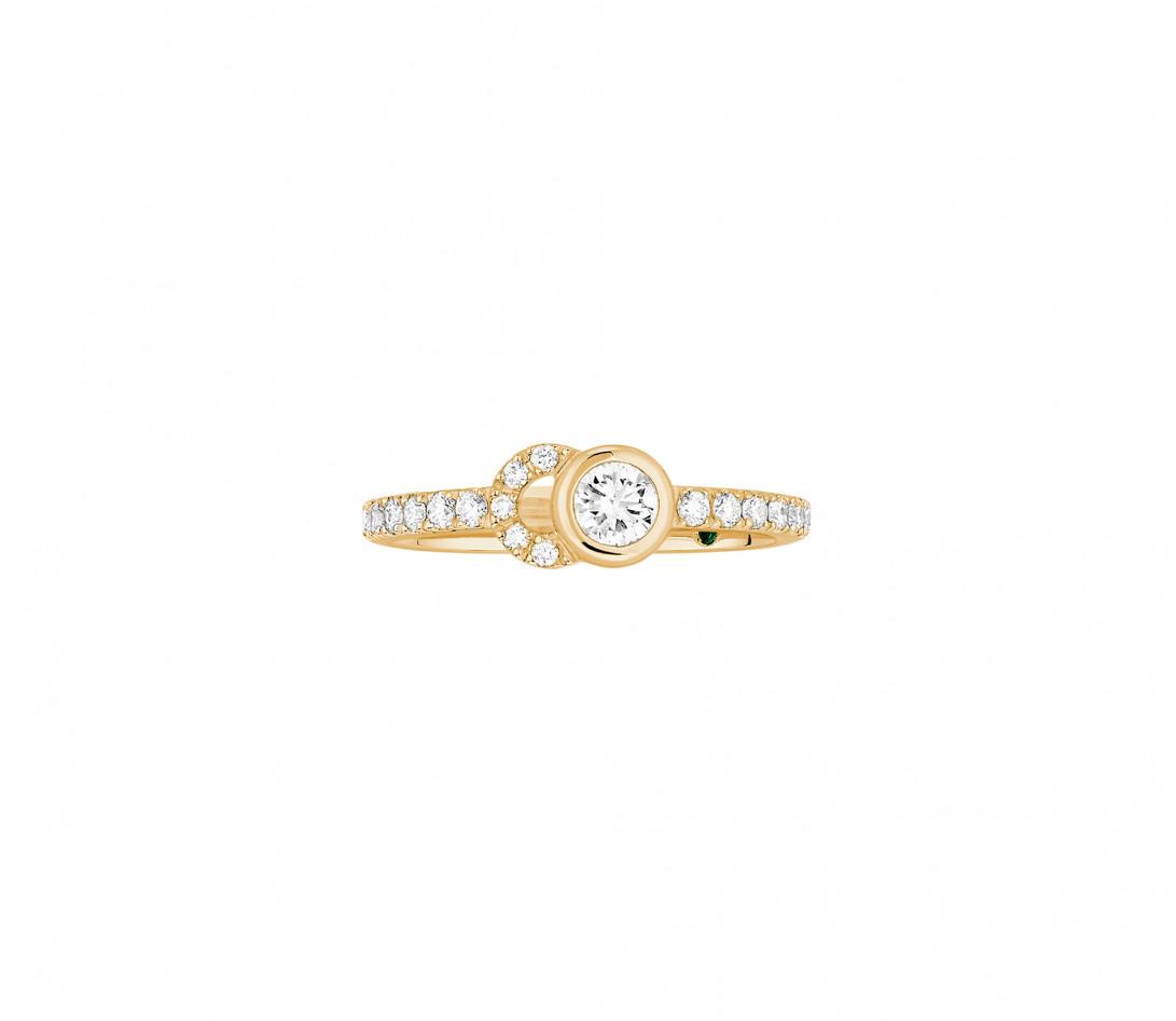Bague CO demi pavée - Or jaune 18K, diamants synthétiques - Vue 1