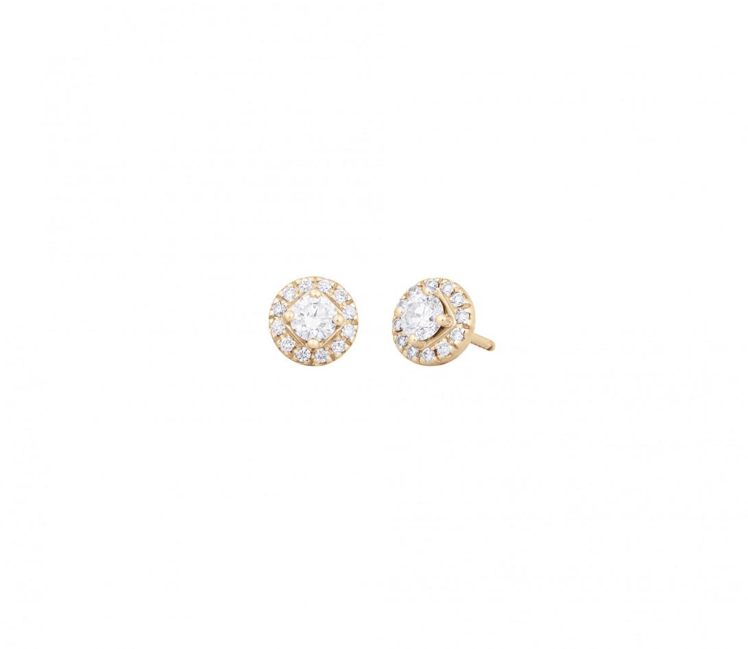Boucles d'oreilles - Or jaune 18K (2,50 g), diamants 0,55 carat - Vue 1
