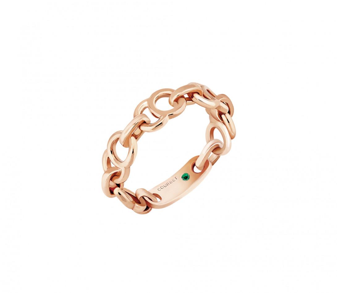 Bague chaîne CELESTE en or rose - Côté