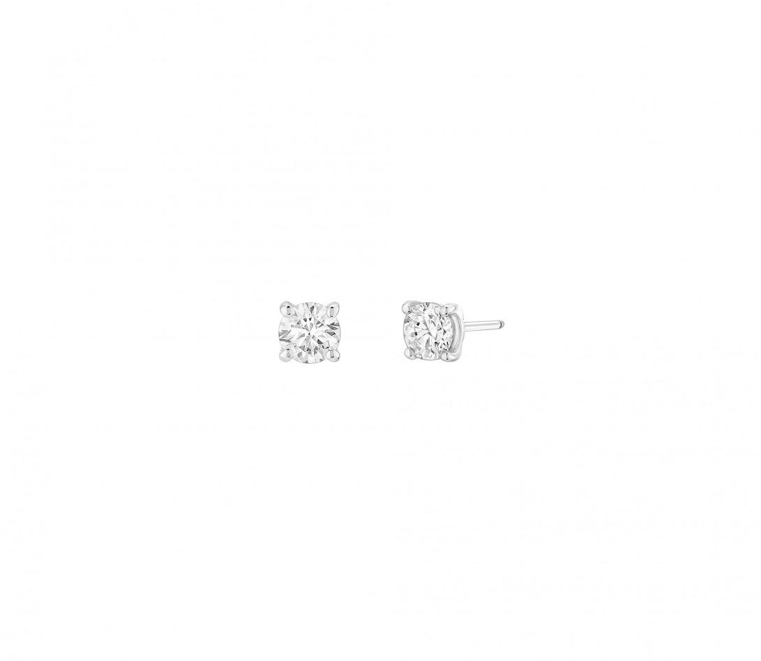 Boucles d'oreilles puces 4 griffes en or blanc - Vue 1