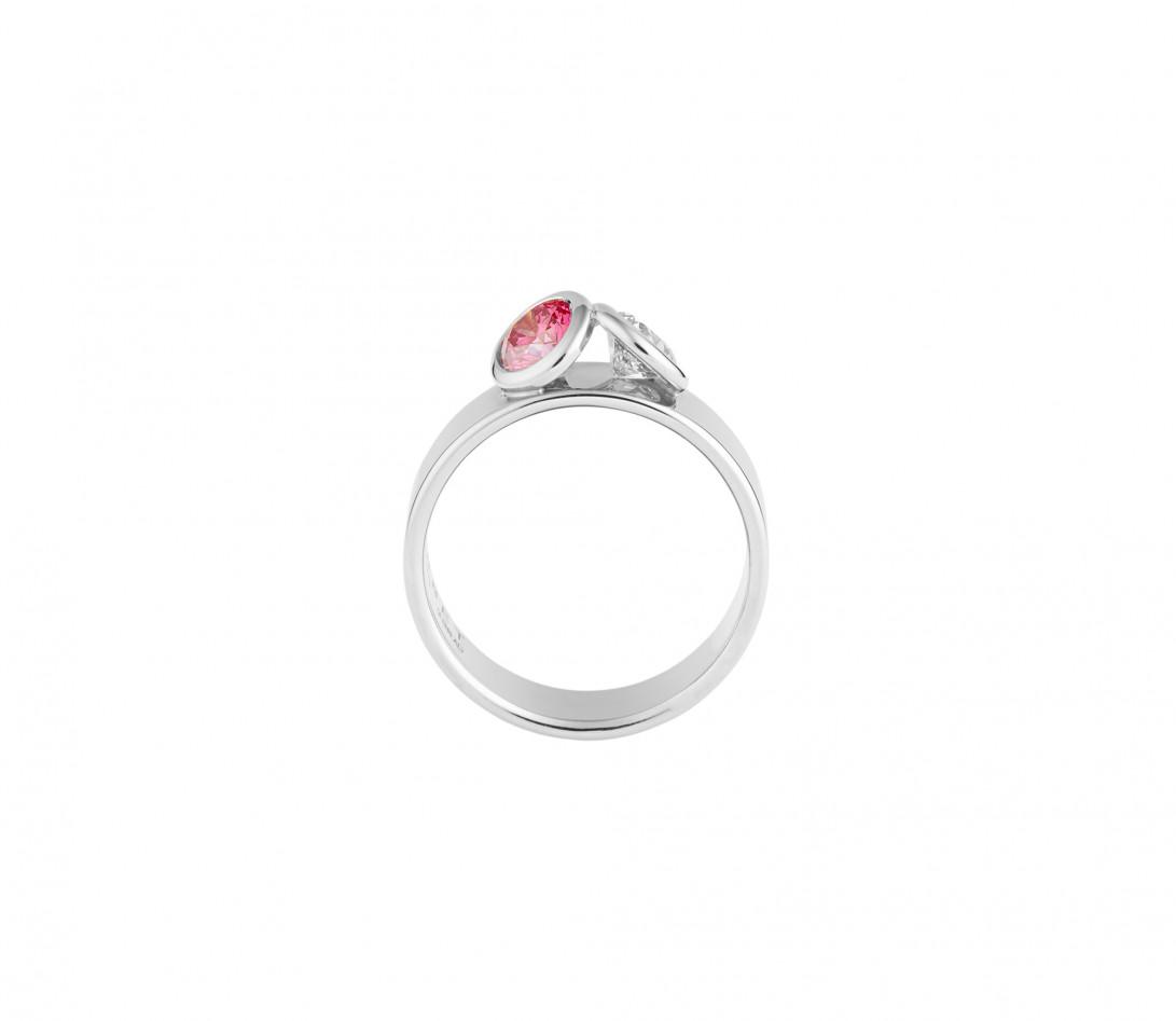Bague 2 Courbet - Or blanc 18K (7,00g), 2 diamants (1 rose) 1ct - Vue 2