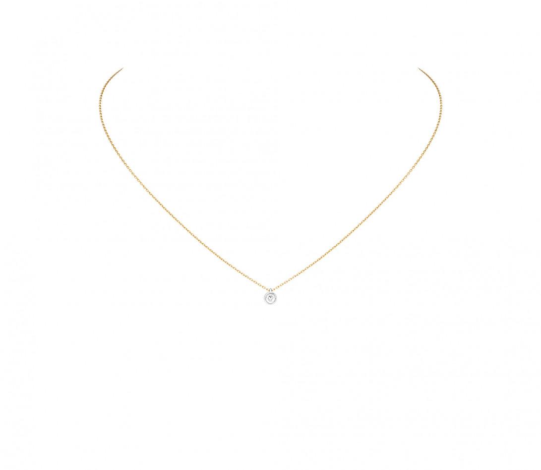 Collier Origine - Or jaune 18K (1,70 g), diamants 0,1 cts - Face