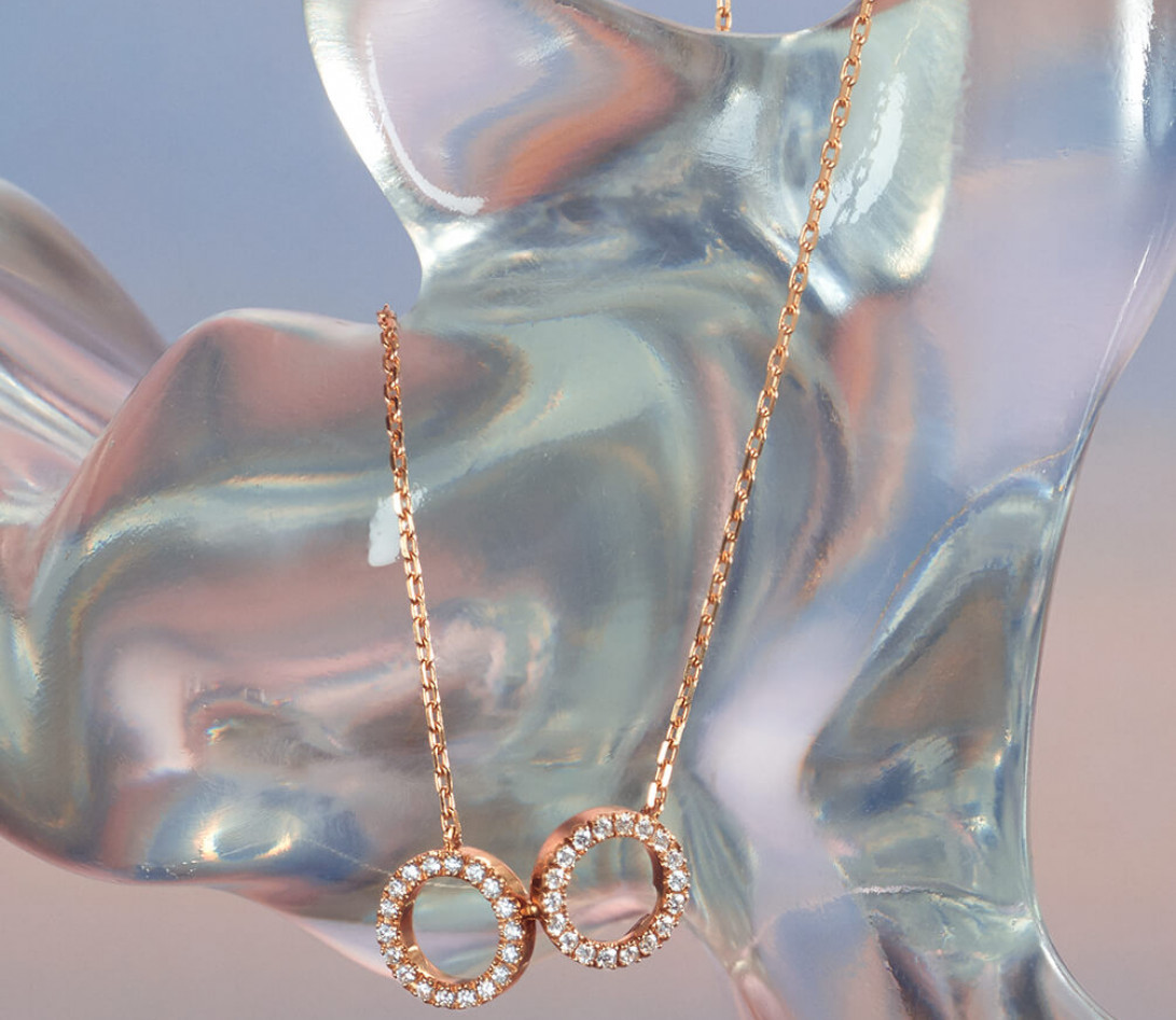 Collier - Or rose 18K (4,90 g), diamants 0,36 cts - Vue 4