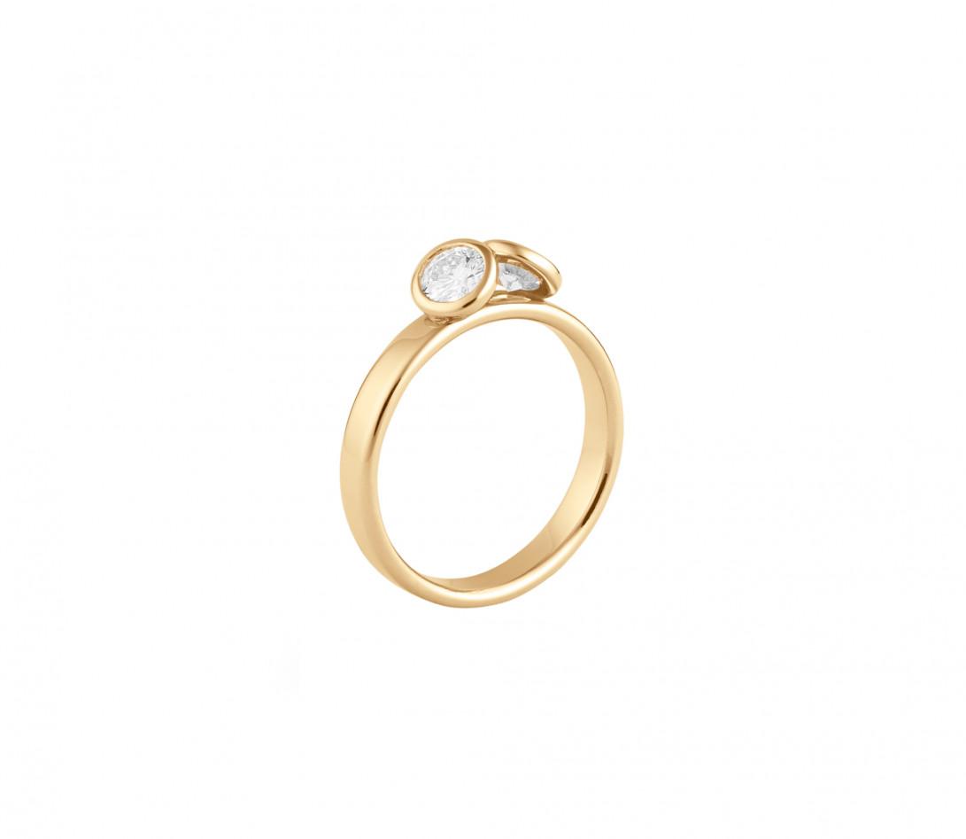 Bague 2 Courbet - Or jaune 18K (3.50), 2 diamants 1ct - Côté