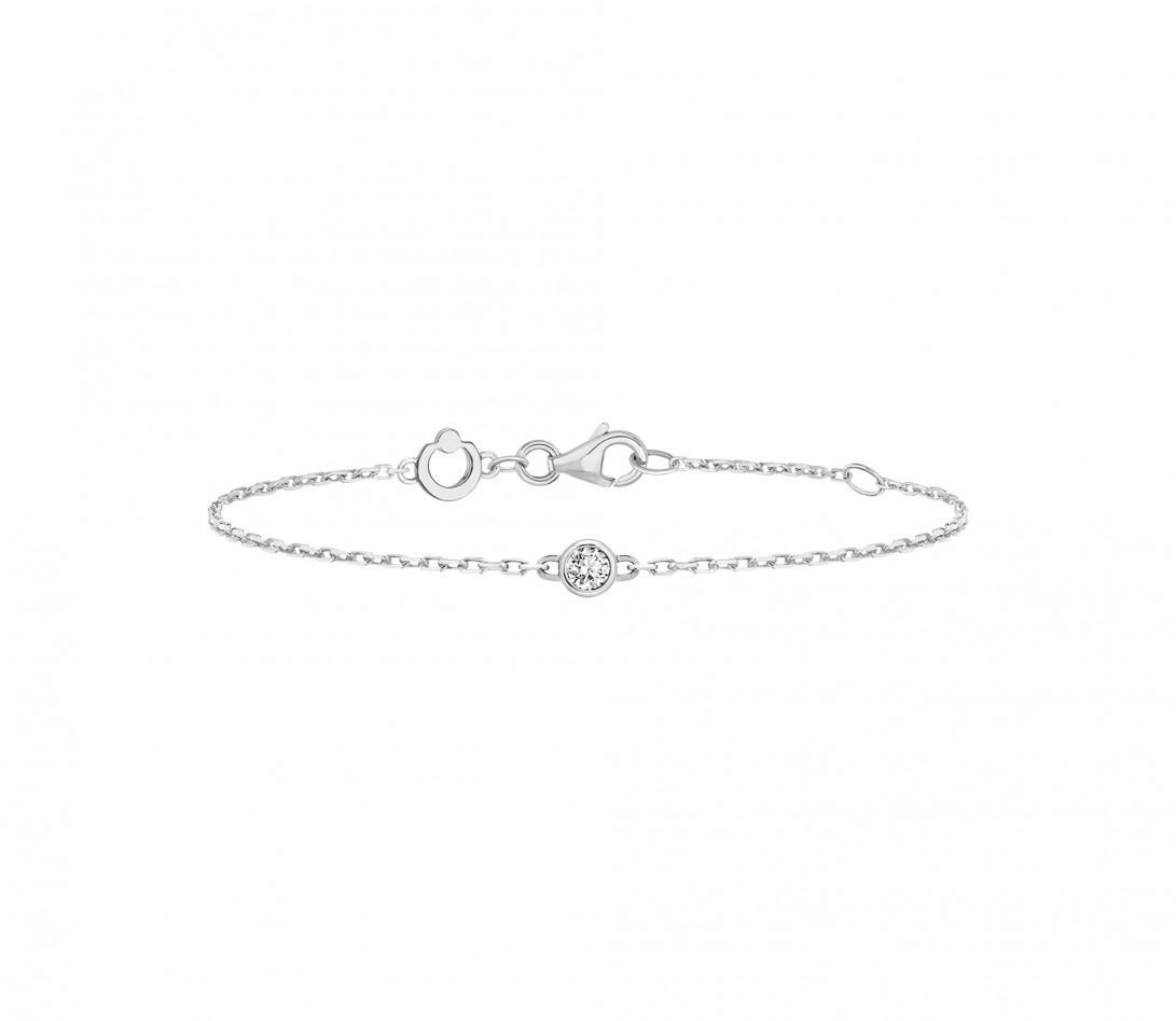 Bracelet chaîne ORIGINE 1 motif serti en or blanc - Courbet - Face