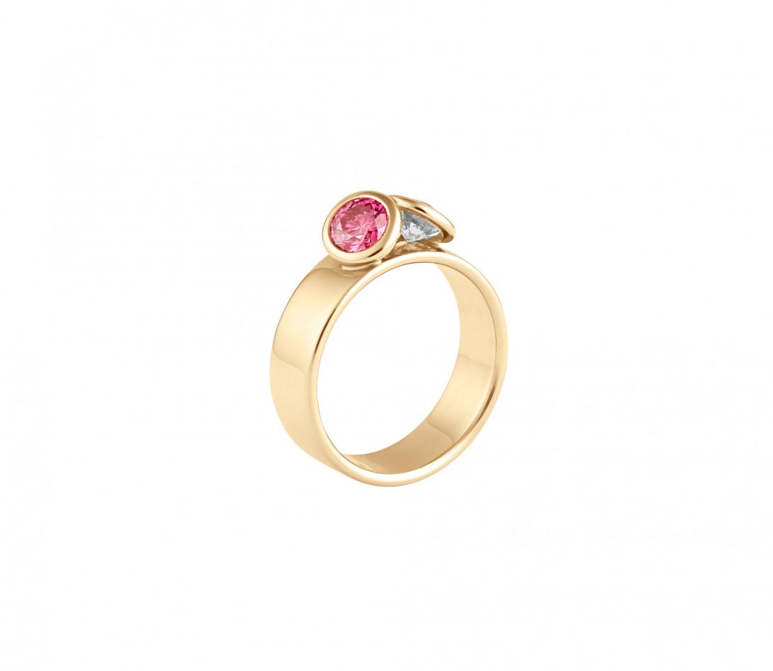 Bague 2 Courbet - Or jaune 18K (7,00g), 2 diamants (1 rose) 1ct - Vue 1