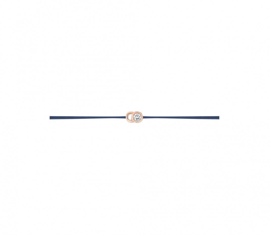 Bracelet cordon LET'S COMMIT bleu Courbet en or rose - Profil