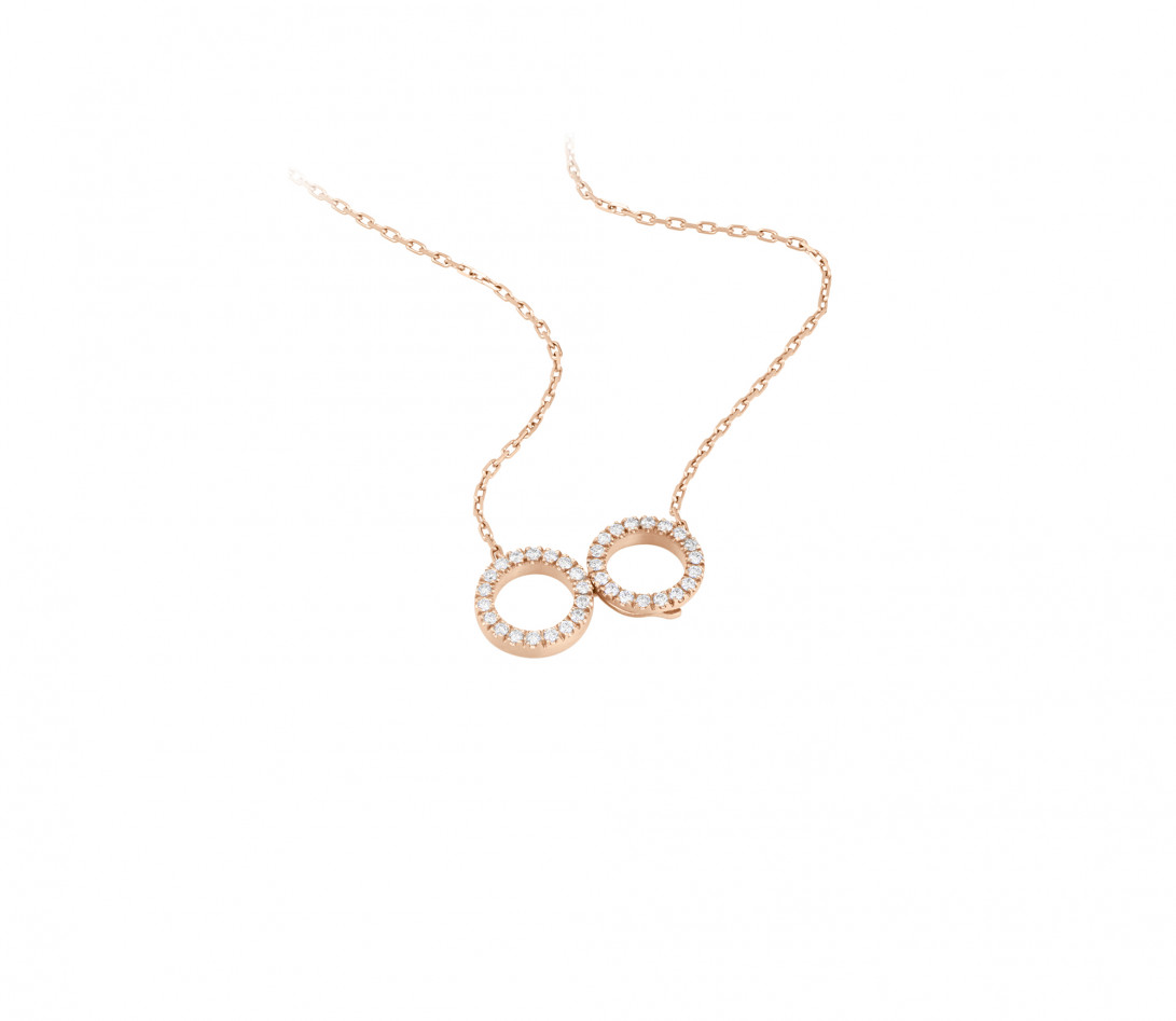 Collier - Or rose 18K (4,90 g), diamants 0,36 cts - Vue 2