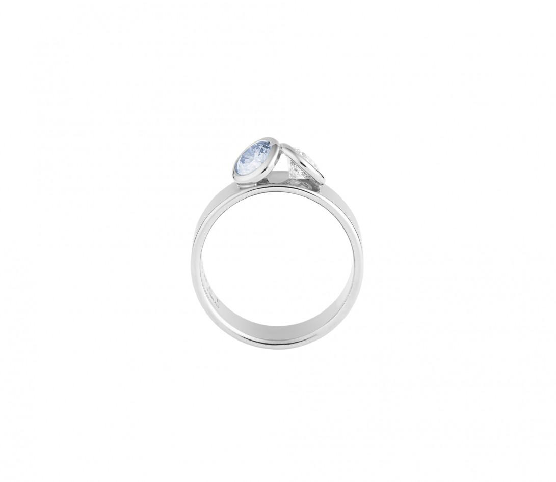 Bague 2 Courbet - Or blanc 18K (7,00g), 2 diamants (1 bleu) 1ct - Profil
