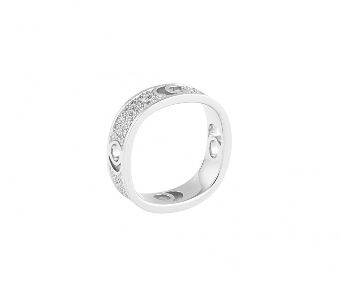 Bague Eclipse grand modèle - Or blanc 18K (7,80 g), diamants 0,70 ct - Vue 3