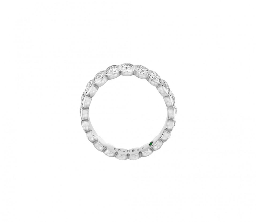 Anneau Or Blanc et Diamant de synthèse 1 ct - Origine - Courbet - Vue 3