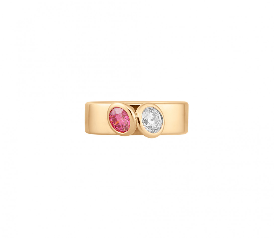 Bague 2 Courbet - Or jaune 18K (7,00g), 2 diamants (1 rose) 1ct - Vue 3