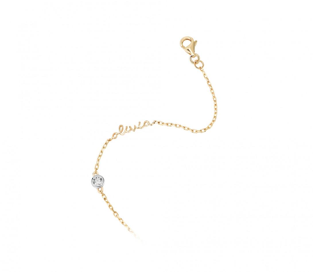 Bracelet chaîne ORIGINE 1 motif serti personnalisé en or jaune 18K - Courbet - Vue 2