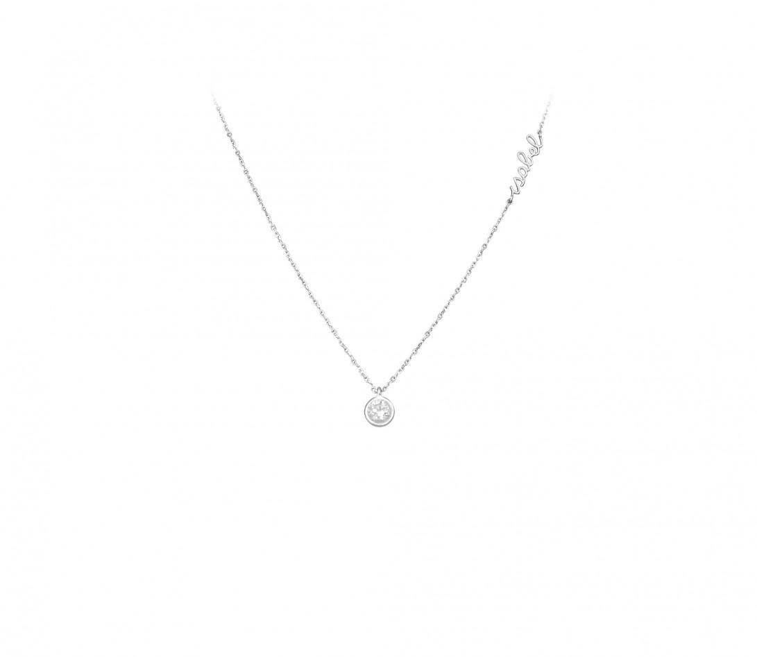 Collier Origine personnalisé - Or blanc 18K (1,70 g), diamants 0,3 cts - Face