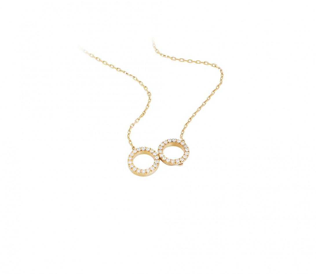 Collier - Or jaune 18K (4,90 g), diamants 0,36 cts - Vue 2