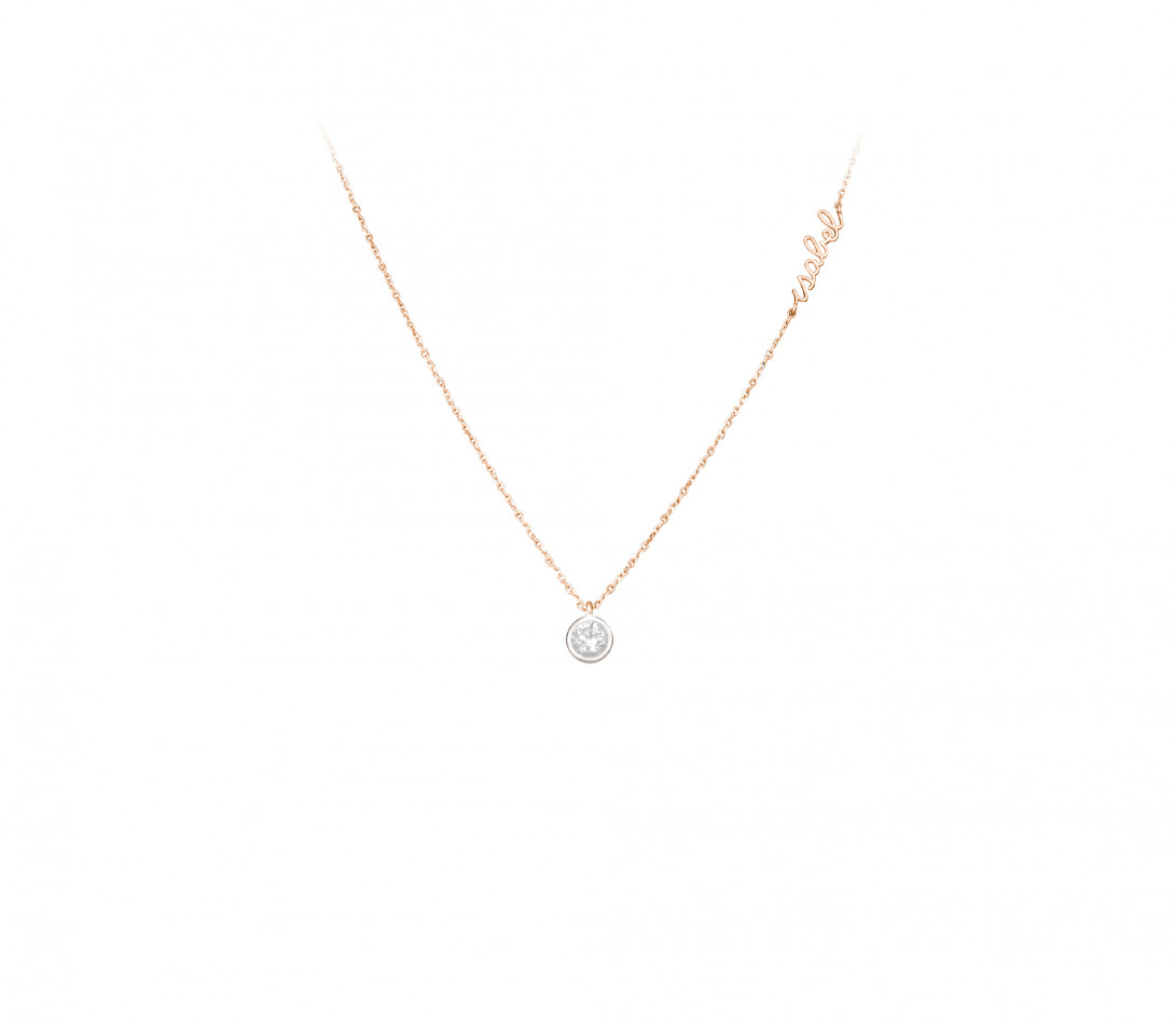 Collier ORIGINE personnalisé en or rose 18K et diamants de synthèse - Courbet - Porté