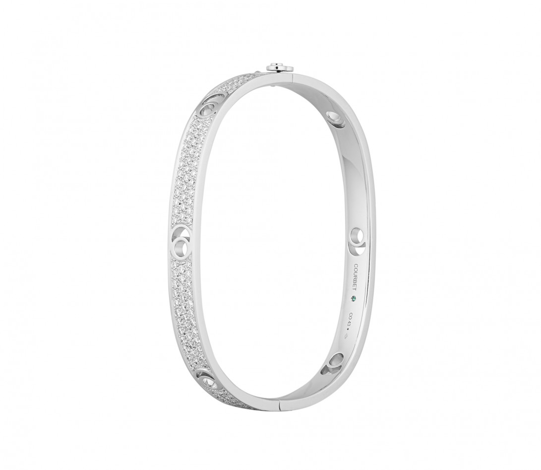 Jonc Eclipse grand modèle - Or blanc 18K (32,00 g), diamants 2,7 cts - Côté