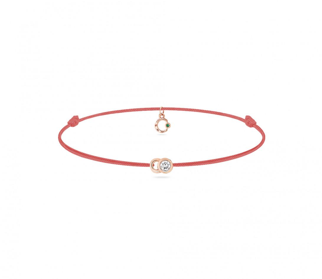 Bracelet cordon LET'S COMMIT orange corail en or rose - Face